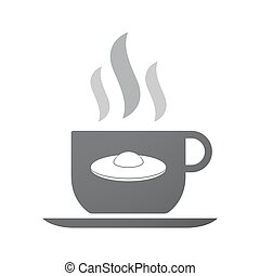 Isolated coffee mug with  a flying saucer UFO