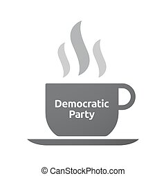 Isolated coffee mug with  the text Democratic  Party
