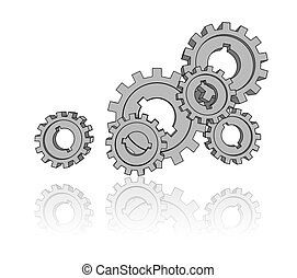 isolated cogwheels - business network - illustration