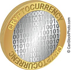 "cryptocurrency - isolated coin with the inscription ""..."
