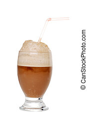 Cola ice cream float - isolated Cola ice cream float