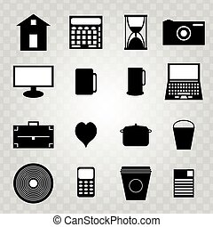 isolated collection of black abstract symbols