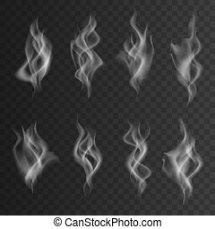 Isolated collection of white smoke on the dark background.