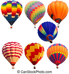 isolated collections of hot air balloon with clipping path