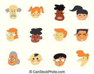 color cartoon people face icons set