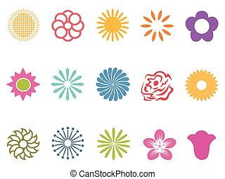 color flower icons set