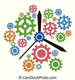 color gear clock background