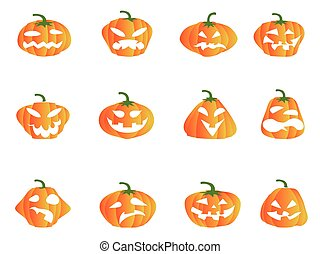 color Halloween pumpkin icons