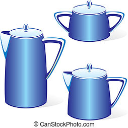 isolated colored kettles