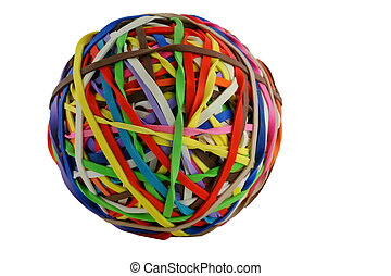 A isolated colored rubberband ball macro