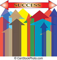Isolated Colorful Arrow Upward Success Point