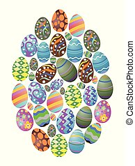 colorful easter eggs group background