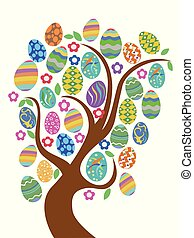 colorful easter eggs tree
