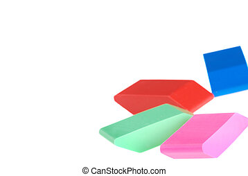 colorful erasers focus on pink one