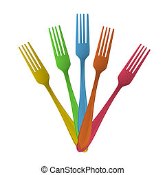 Isolated colorful forks. Vector design