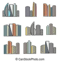 Isolated colorful high buildings icons collection, skyscrapers vector illustrations on white background.