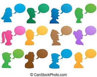 human head with speech bubble