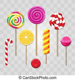 Isolated colorful lollipops. Celebration party lolly pops collection, vector colourful candies sweets, 3 bright lollipop candy objects