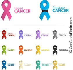 Isolated colorful ribbon logo set on the white background. Against cancer logotype. Stop prostate cancer disease symbol. International worldwide breast cancer week. Medical sign. Vector illustration.