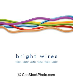Isolated colorful vector wires on white background