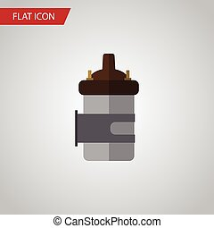 Isolated Combustion Engine Flat Icon. Absorber Vector Element Can Be Used For Absorber, Combustion, Engine Design Concept.