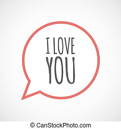 isolated comic balloon icon with the text i love you