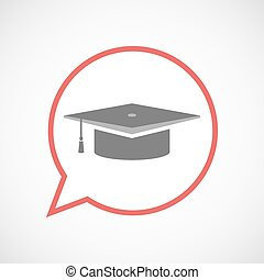 Isolated comic balloon line art icon with a graduation cap
