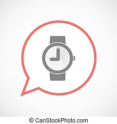 Isolated comic balloon line art icon with a wrist watch