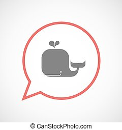 Isolated comic balloon with a whale