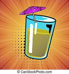 Isolated comic drink with umbrella