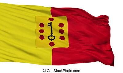 Isolated Comines Warneton city flag, Belgium - Comines...