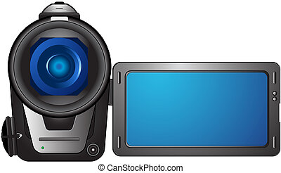 isolated compact video camera with open screen and space for text