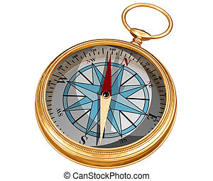 Isolated compass - Isolated illustration of a golden compass