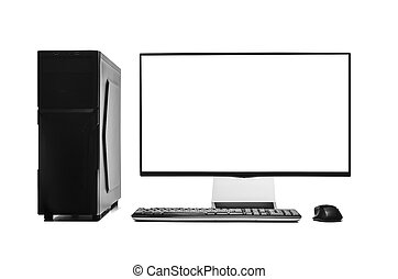 isolated., computadora, escritorio
