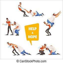 isolated., concettuale, persona, relativo, help., debole, o, porzione, vettore, illustrazione, bisogno