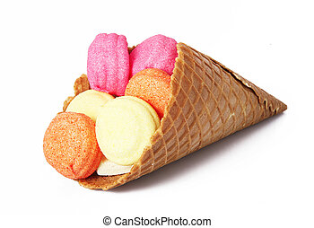 isolated cone for ice cream in white background