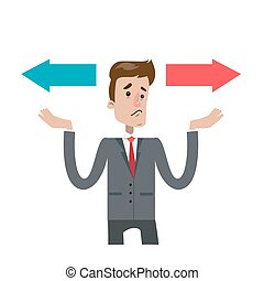Isolated confused businessman choosing between two directions.