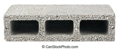 Isolated Construction Block - One - Gray concrete...