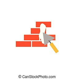 bricks and trovel design, Construction work repair reconstruction industry build and project theme Vector illustration