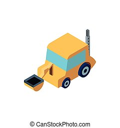 Isolated construction yellow front loader truck vector design