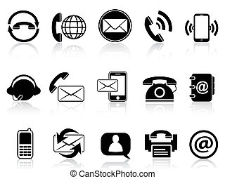 isolated contact icons set from white background