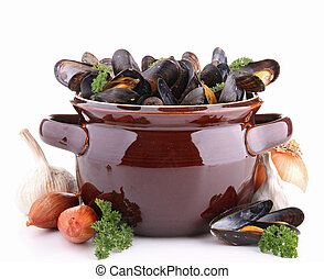 isolated pan with mussels and ingredient on white background
