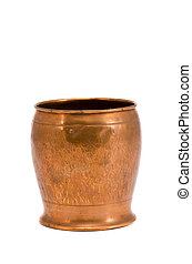 isolated copper vase for flowers
