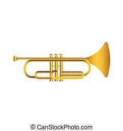 Isolated cornet. Musical instrument. Vector illustration...