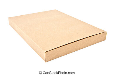 Isolated corrugated kraft paper Box - Closed paper box lying...