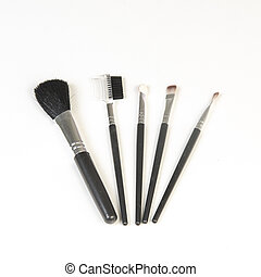 Isolated cosmetics brush set makeup