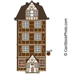 Isolated cottage with attic. vector