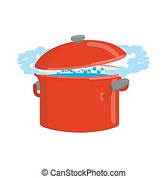 isolated., cottura, acqua, utensili, rosso, pan, cucina