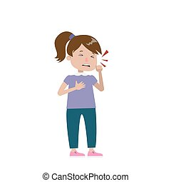 Isolated coughing girl. - Isolated sick coughing girl on...