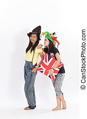 Isolated couple women with fantasy hat